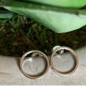 Minimalist Sterling Silver Circle Stud Earrings